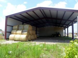 Hay bales in a building